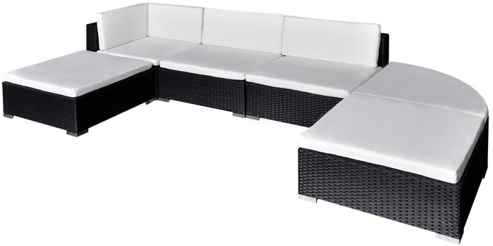 arredo giardino +divano +polyrattan +rattan +midollino +angolare +caffè +nero