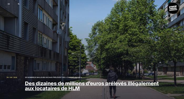 Des dizaines de millions d'euros prélevés illégalement aux locataires de HLM, Article Streetpress, Léo Derivot