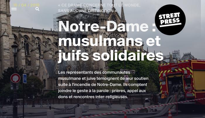 Notre-Dame : musulmans et juifs solidaires Article Anouk Loisel