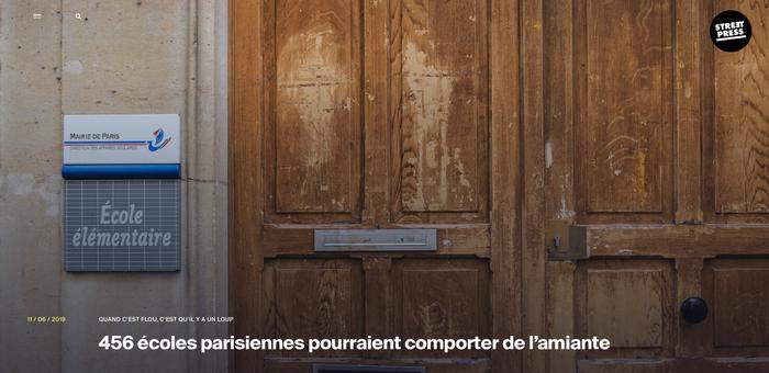 QUAND C'EST FLOU, C'EST QU'IL Y A UN LOUP  456 écoles parisiennes pourraient comporter de l'amiante, Article Streetpress de Christophe-Cécil Garnier et Léo Derivot