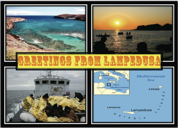 Postkarte Greetings from Lampedusa by Artist Youssef Tabti
