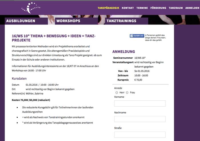 Anmeldug unter www.tanzimpulse.de, Veranstaltungsort: Ballett-Dance Akademie Köln