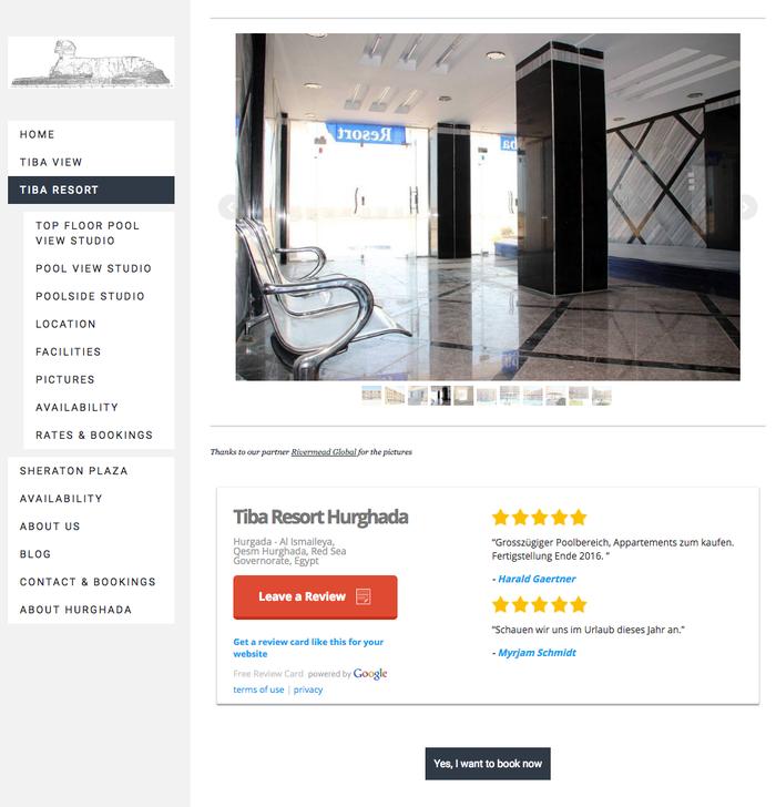 Google Rating on Tiba Resort in Hurghada at www.apartmentsinhurghada.com