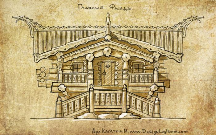 дом из красного кедра, эскиз гостевого дома