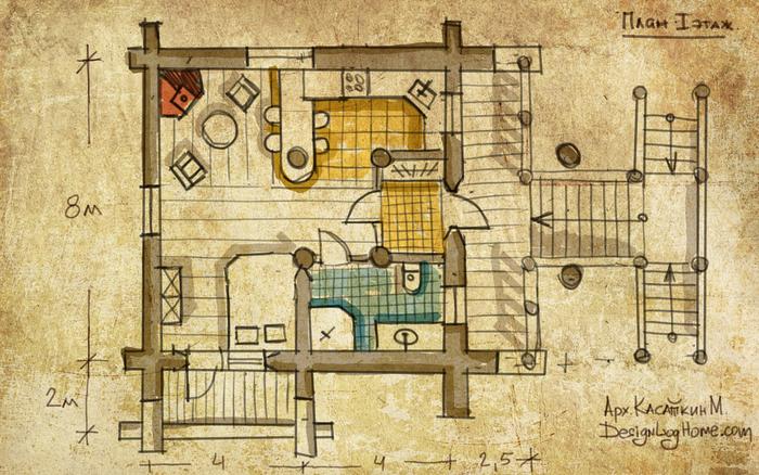 гостевой дом из бревна, план бани