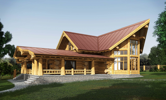 дом из кедра,post beam, технология post and beam, канадская рубка,канадский дом из бревна