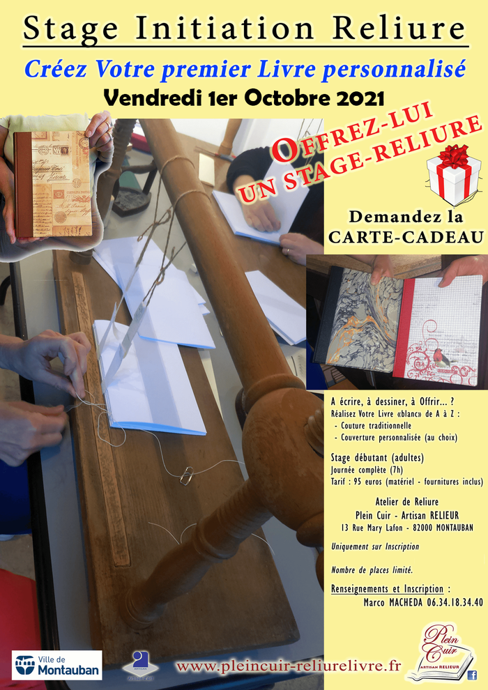 Plus d'infos sur Stage Initiation Reliure 24 juillet 2019 à Montauban