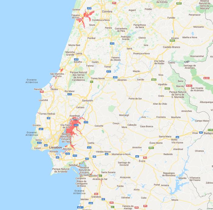 Sea level Portugal middle