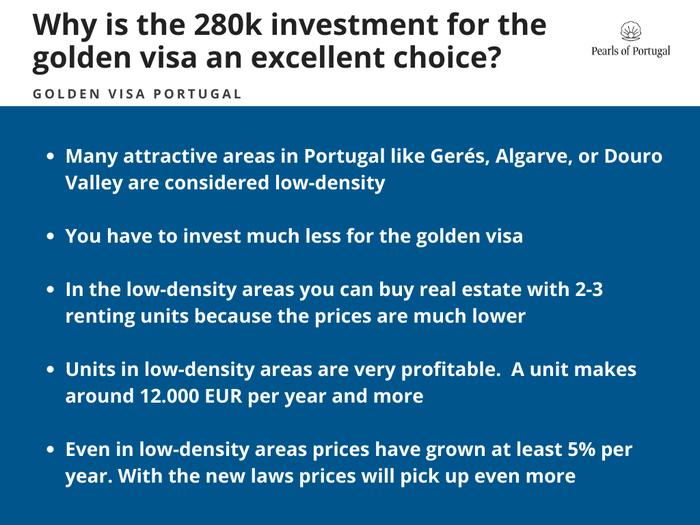 Advantages low-density areas Portugal Golden Visa
