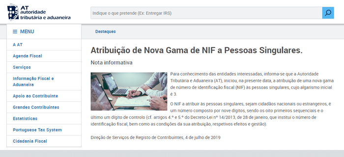Steuernummer NIF Portugal