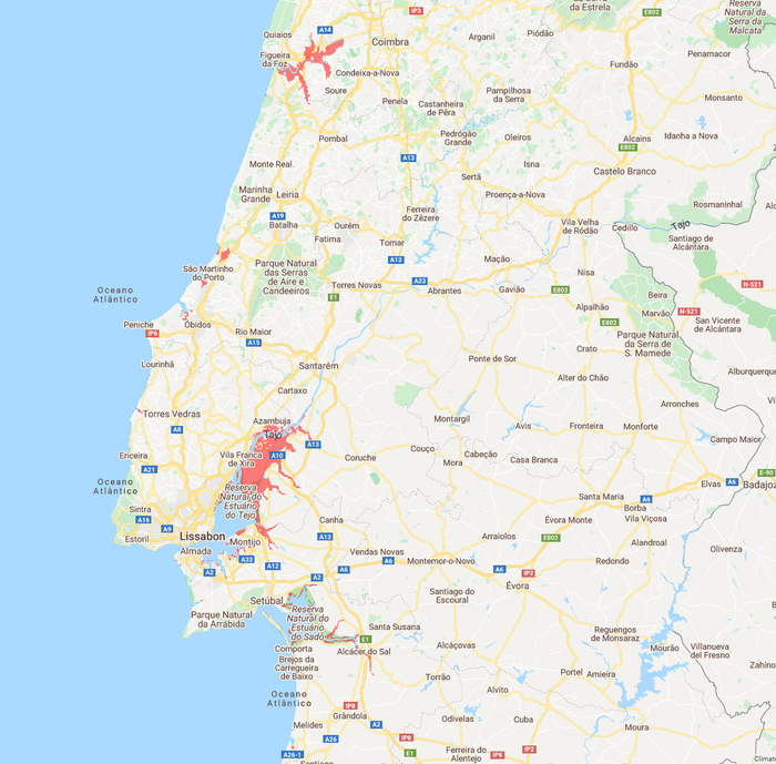 Meeresspiegel Portugal Mitte