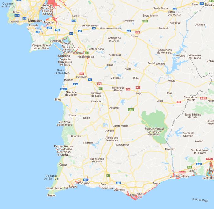 Meeresspiegel Portugal Süden