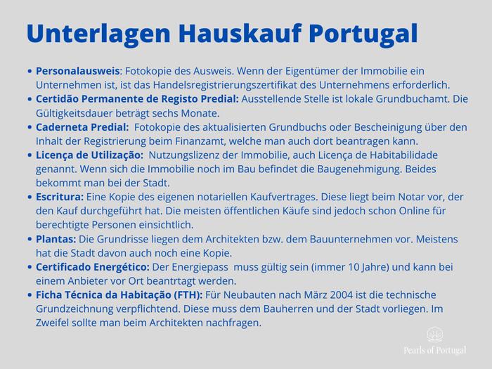 Unterlagen Immobilie Portugal kaufen