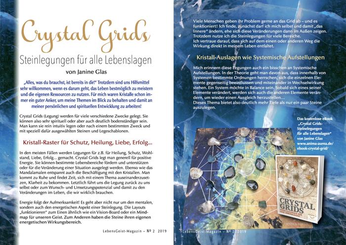 Beitrag Lebensgeist Magazin zu Crysal Grids, Anima Aurea