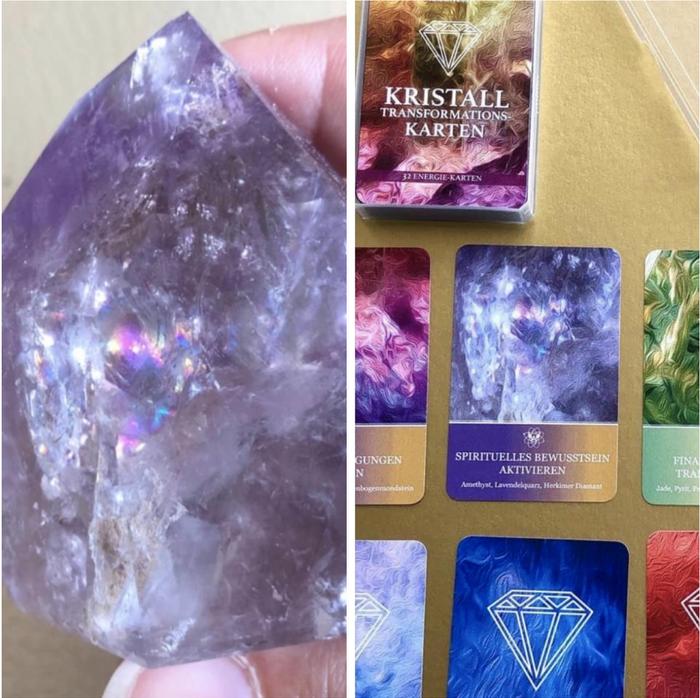 """Motive aus echten Kristall-Bildern. Hier der Amethyst für die Karte """"Spirituelles Bewusstsein"""""""