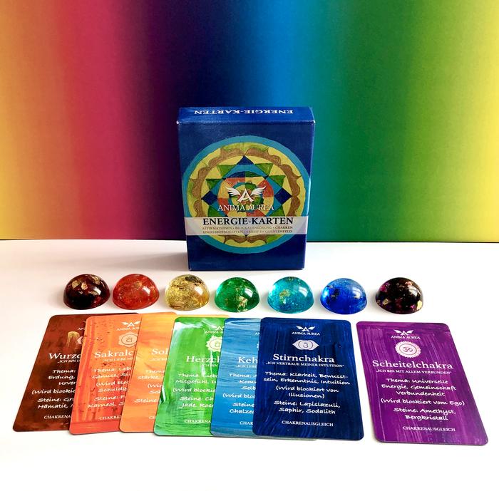 Orgonite, Chakren, Chakren-Licht, Chakren-Orgonite, Energie-Karten, Energiekarten