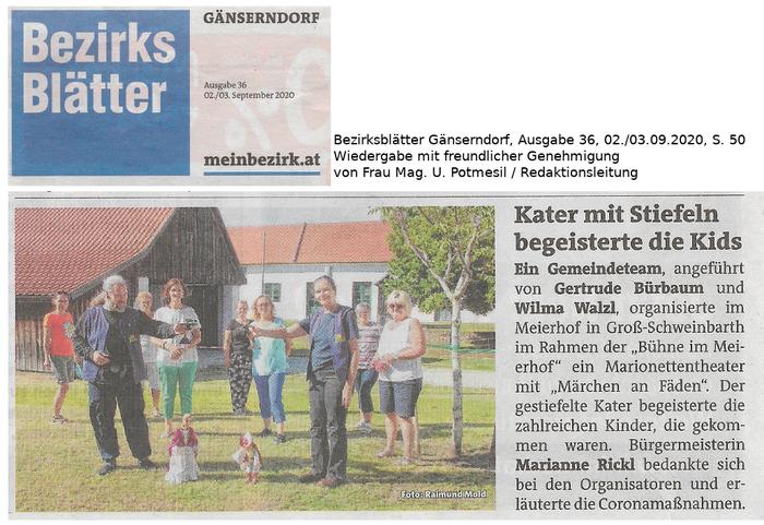 Märchen an Fäden: Der gestiefelte Kater, in Groß-Schweinbarth, Bezirksblätter