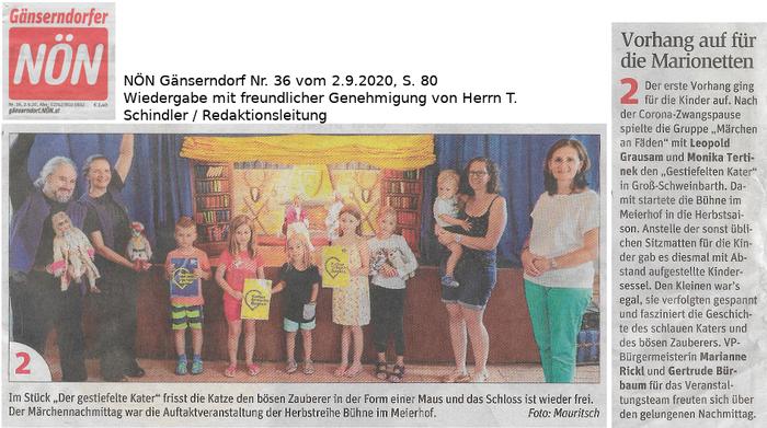 Märchen an Fäden: Der gestiefelte Kater, in Groß-Schweinbarth, NÖN