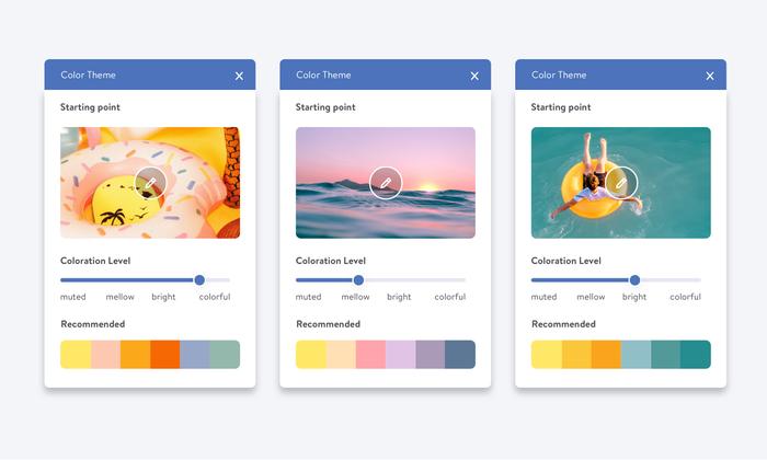 Las paletas de colores de Jimdo Dolphin te ayudan a mejorar la imagen de marca de tu web.
