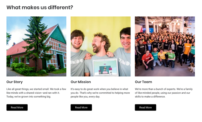 """Página """"Acerca de"""" con fotos y la historia, la misión y el equipo del negocio"""