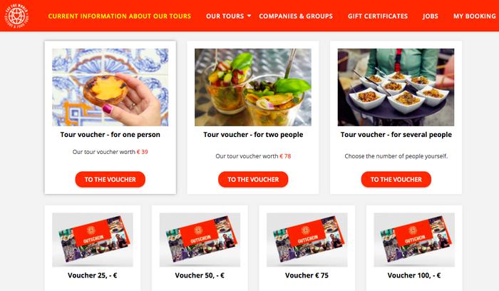 Imagen de una promoción con vales de descuento para canjear por diferentes tours culinarios.
