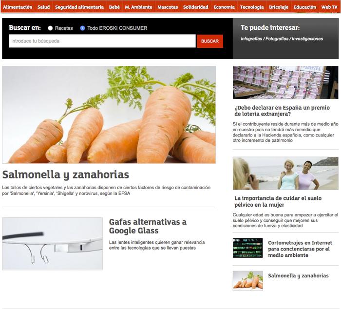 Ejemplo de estrategia de marketing de contenidos - Eroski Consumer