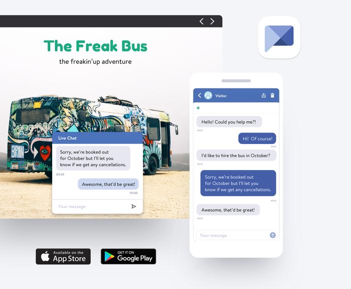 Con la app Live Chat de Jimdo tus visitantes pueden contactarte desde tu web.