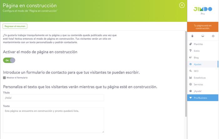 Interfaz de la opción de página en construcción