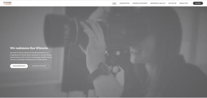 Vídeo de cabecera de la página web de Lichtbild Studio creada con Jimdo