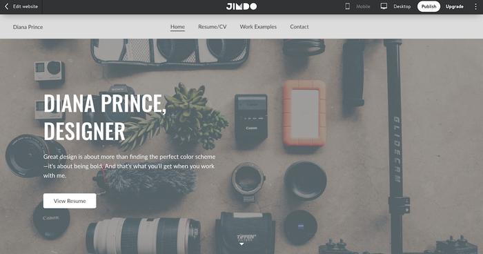 Página de inicio del currículum online de una diseñadora