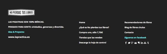 Información de contacto en el pie de página de una web.