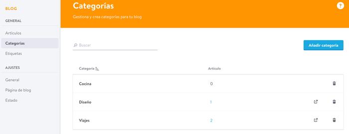 Jimdo te permite asignar fácilmente las categorías a tus artículos de blog
