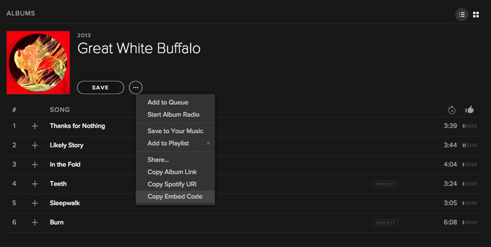 Vista de un álbum de música en Spotify