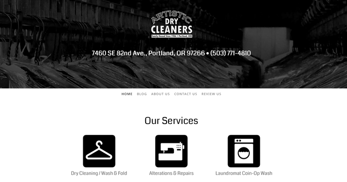 Página web www.artisticdrycleaners.com