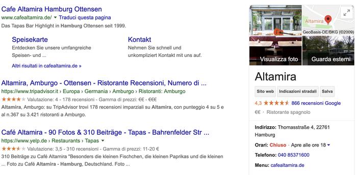 Imagen de cómo aparece un perfil de empresa en los resultados de Google