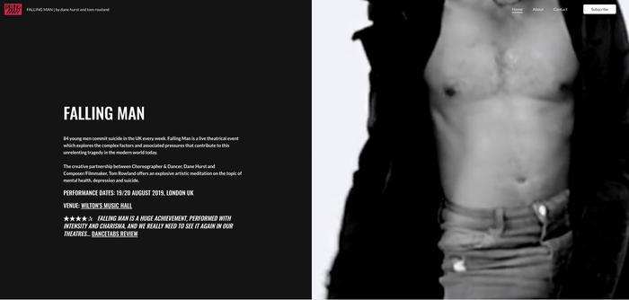 Vídeo de cabecera de la página web de Falling Man creada con Jimdo