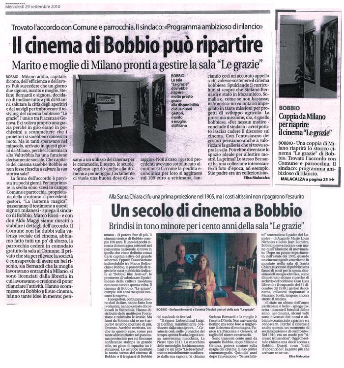 quotidiano Libertà 29/9/2010 Stefano Bernardi e Cosetta D'Isola riparte il cinema Le Grazie di Bobbio