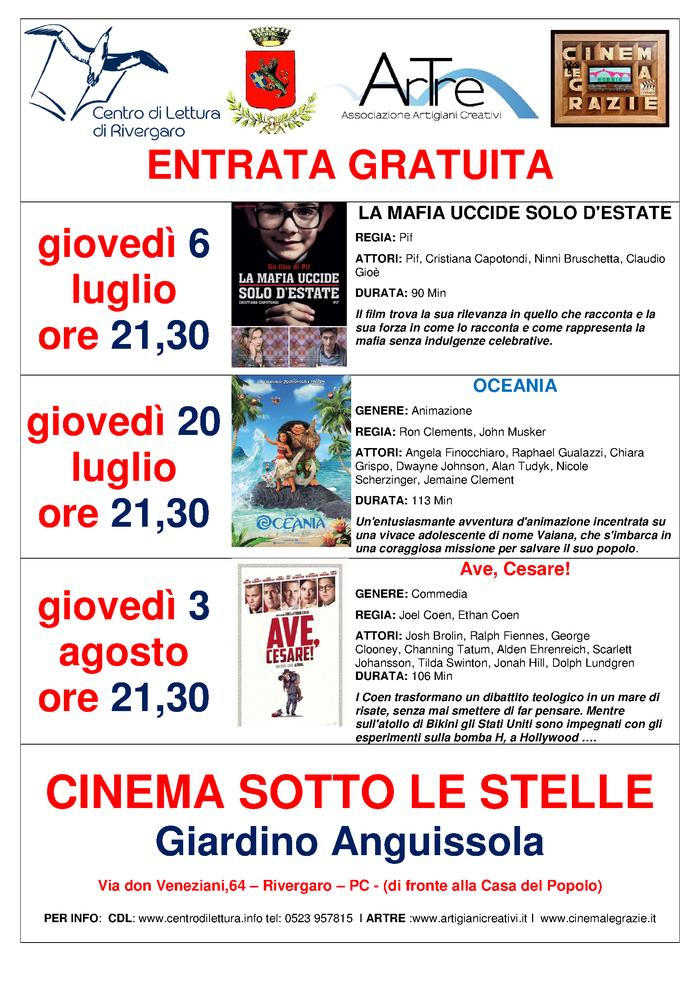 Cinema Sotto Le Stelle Estate 2017 - Rivergaro - Giardino Anguissola - Via don Veneziani,64