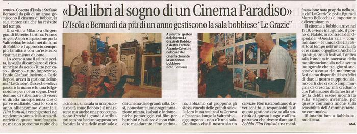 Cosetta D'Isola e Stefano Bernardi - Cinema Le Grazie Bobbio quotidiano Liberà 5/8/2011