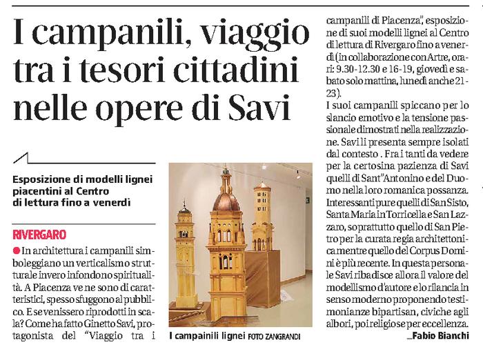 quotidiano Libertà Mercoledì 17 maggio 2017 Ginetto Savi - Viaggio tra i campanili di Piacenza