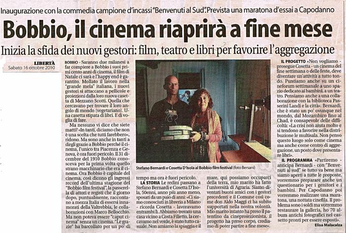 quotidiano Libertà 16/10/2010 Riparte il cinema Le Grazie di Bobbio con Stefano Bernardi e Cosetta D'Isola