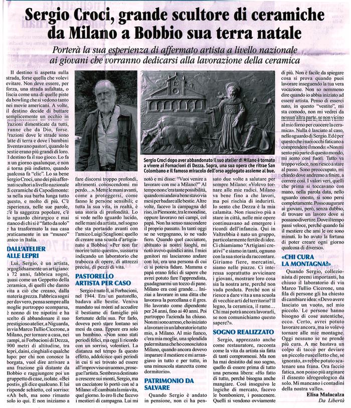 settimanale LA TREBBIA giovedì 27 ottobre 2016 - Sergio Croci