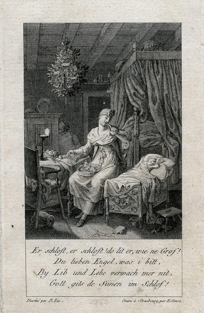 """""""Er schloft"""" - Gravure de Benjamin ZIX pour """"Allemanische Gedichte""""  (1806). Au plafond est suspendu un sapin de Noël décoré de gâteaux, plus ancienne représentation d'un sapin de Noël suspendu"""