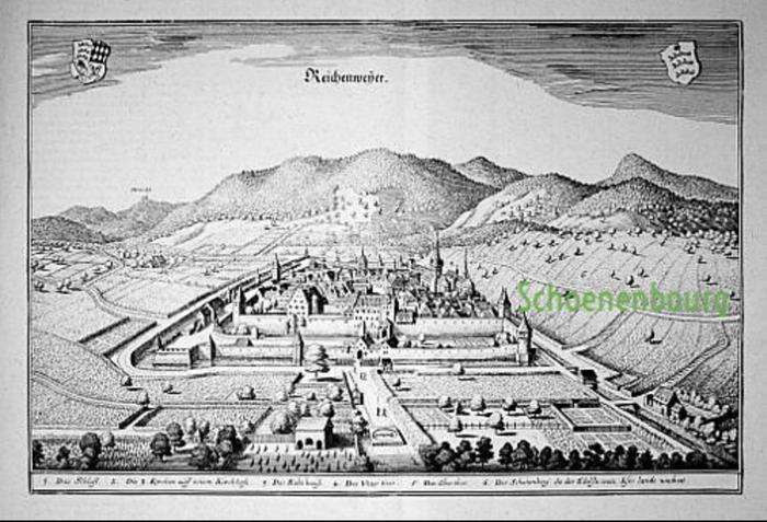 """Le cartographe Matthäus Merian mentionne le Schoenenbourg en 1644 dans son célèbre ouvrage Topographia Alsatiae et le qualifie de terroir """"où pousse le vin le plus noble de ce pays"""""""