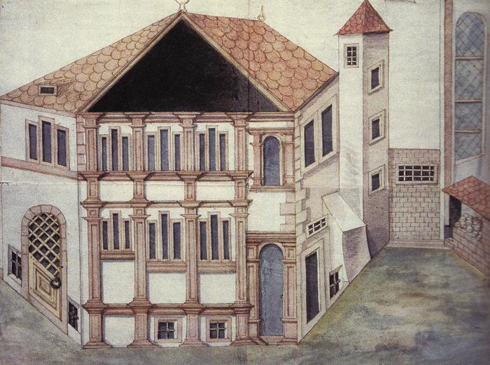 Le Wagkeller de Colmar en 1582 se trouvait à proximité de l'ancien couvent des Augustins. Aujourd'hui, il reste quelques vestiges de ce bâtiment entre la prison et le tribunal de Grande Instance. (Dessin rehaussé de lavis par Marx Friedlin)