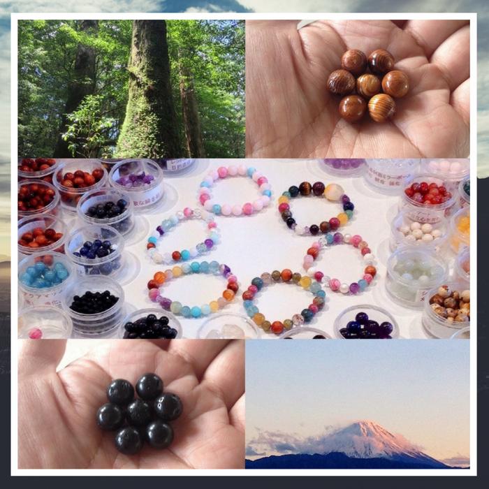 屋久杉富士溶岩天然石ブレスレット作り体験奈良