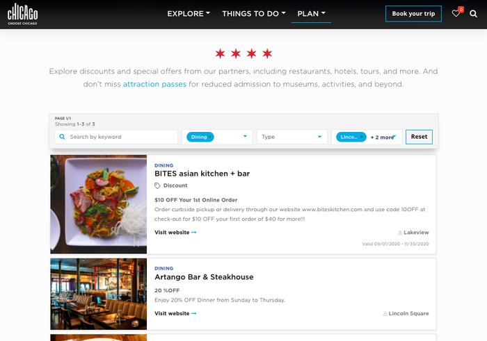 Page du site de la ville de Chicago répertoriant des bons de réduction pour des restaurants locaux