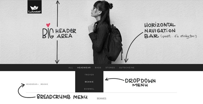 Large header sur la page d'accueil, navigation horizontale, menu déroulant et en fil d'ariane - la liste des points forts de Stockholm est longue !