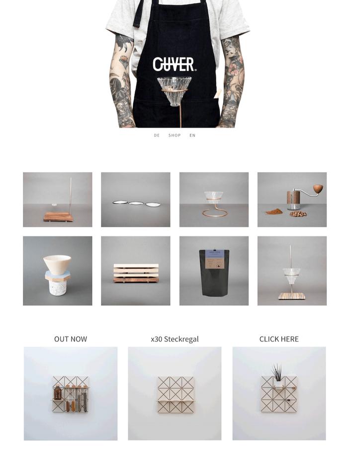 Ouver Coffee présente ses produits de manière professionnelle : simplement, avec des photos professionnelles et un design harmonieux.