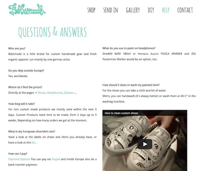 Une page Questions fréquentes comme celle-ci (site Jimdo Bobsmade.com) aide les clients à trouver les informations dont ils ont besoin.